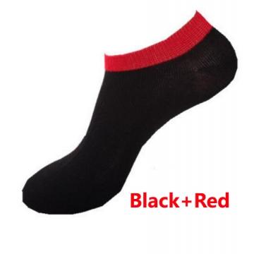 HN-1 Pair/Set New Fashion Socks For Men Pure Cotton Socks Breathable man Gift Black+Red Telescopic elastic