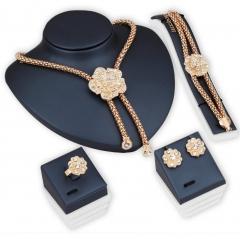 HN-5 piece/Set New Diamond Flower Pendant Necklace Earrings Ring Bracelet Women Men Jewellery Gift gold as picture