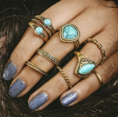 HN-8 piece/Set New Fashion Turquoise Alloy Crystal Wedding Ring Women Men Jewellery Gift gold as picture
