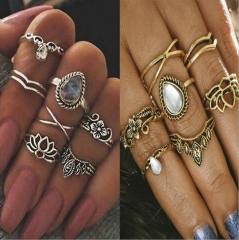 HN-7 piece/Set New Fashion Hollowed flowers Alloy Crystal Wedding Ring Women Men Jewellery Gift gold as picture