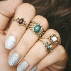 HN-4 piece/Set New Fashion Carved stone Alloy Crystal Wedding Ring Women Men Jewellery Gift gold as picture