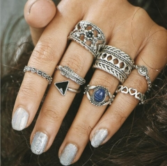 HN-7 piece/Set New Fashion Blue Carved stone Alloy Crystal Wedding Ring Women Men Jewellery Gift silver