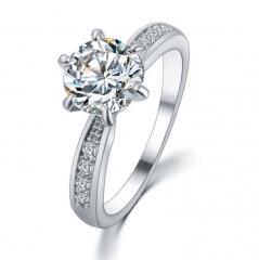 HN-1 piece/Set New Fashion Real Gold Originality luxury 18Kdiamond Wedding Rings Women Men Gift silver 6