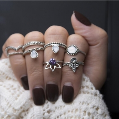 HN-8 piece/Set New Fashion Individual love Alloy Crystal Wedding Ring Women Men Jewellery Gift silver as picture