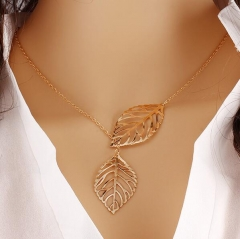 HN-1 Piece/Set New Leaf Alloy Jewelry Necklace Pendant Women Jewellery Gift gold chain length:48cm
