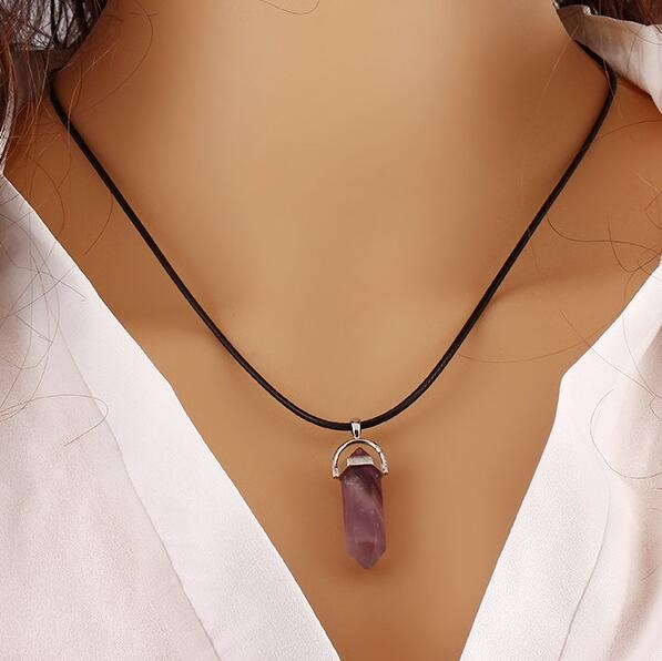 HN-1 Piece/Set New Natural stone Alloy Rope Jewelry Necklaces Pendant Women Jewellery Gift Purple as picture