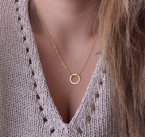 HN-1 Piece/Set New Simple circle Alloy Jewelry Metal Necklaces Pendant Women And Men Jewellery Gift gold perimeter:46cm