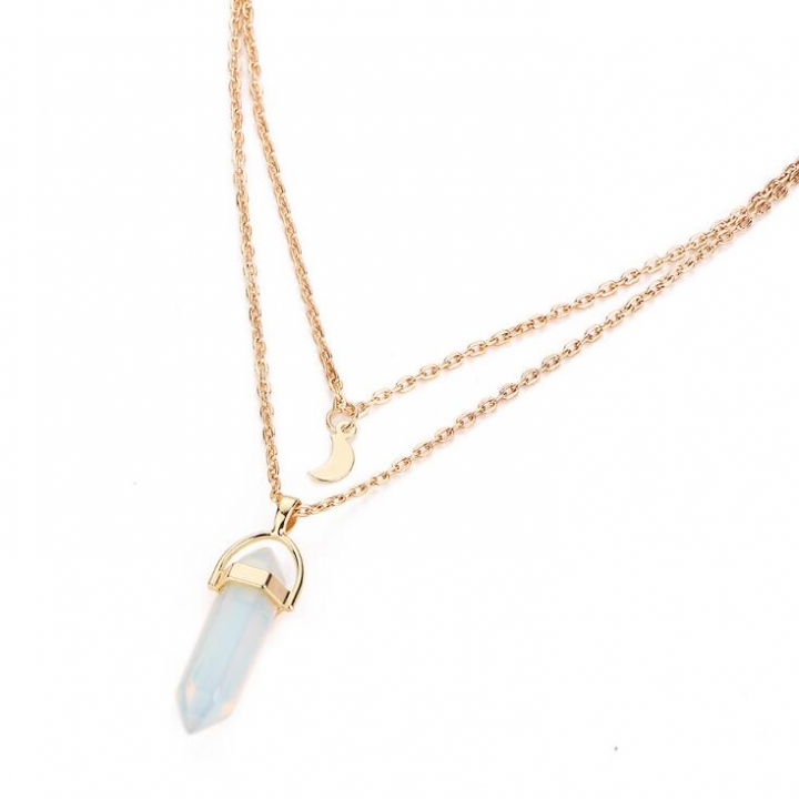 HN-1 Piece/Set New Crescent bullet Alloy Metal Necklaces Pendant Women And Men Jewellery Gift white as picture