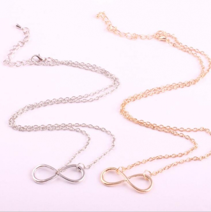 HN-1 Piece/Set New Sweater chain inverted eight character Alloy Necklaces Pendant Women Jewellery gold chain length:50cm