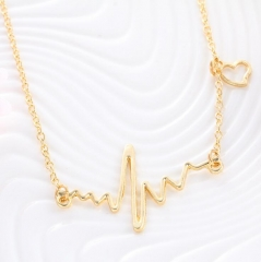 HN-1 Piece/Set New ECG cardiac frequency love Alloy Necklaces Pendant Women And Men Jewellery Gift gold as picture
