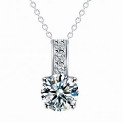 HN-1 Piece/Set New 5A diamond zircon love Alloy Necklaces Pendant Women And Men Jewellery Gift silver chain length:38cm