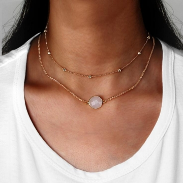 HN-1 Piece/Set New Natural stone glass mosaic double layer Necklaces Pendant Women Jewellery Gift white perimeter:35m