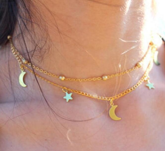 HN-1 Piece/Set New Layers of simple moon stars Alloy Necklaces Pendant Women Jewellery Gift gold chain length:40cm