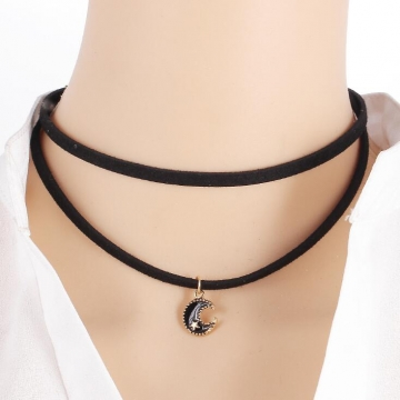 HN-1 Piece/Set New elvet satin Moon Crystal Alloy Necklaces Pendant Women Jewellery Gift Moon as picture
