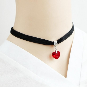 HN-1 Piece/Set New Black flannelette Heart Crystal lace Necklaces Pendant Women Jewellery Gift Red chain length:31cm