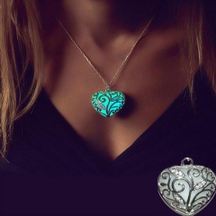 HN-1 Piece/Set New Glowing heart pierced Luminous Alloy Necklaces Pendant Women Jewellery Gift Blue as picture