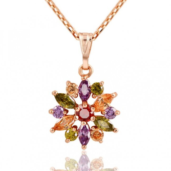 HN-1 Piece/Set New 18K real gold Colorful zircon Alloy Necklaces Pendant Women Jewellery Gift mix color chain length:20cm