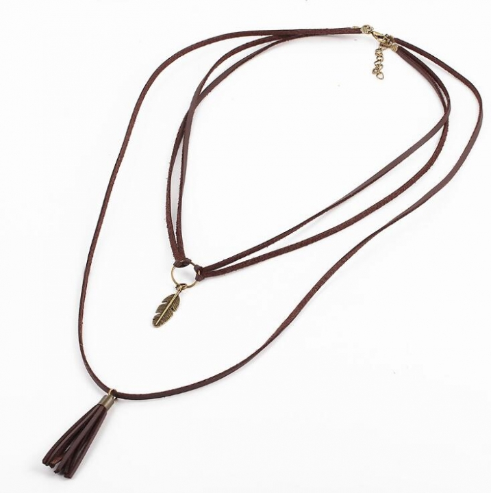 HN-1 Piece/Set New Leather Multi layer sweater Alloy Necklaces Pendant Women Jewellery Gift Coffee chain length:70cm