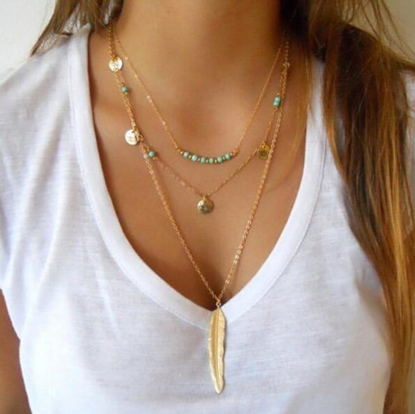HN-1 Piece/Set New Fashion simple Turquoise Bead Leaf feather Necklaces Pendant Women Jewellery Gift gold chain length:45cm