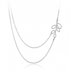 HN-1 Piece/Set New Simple metal tree leaf Zishuang multilayer Necklaces Pendant Women Jewellery Gift silver chain length:45cm
