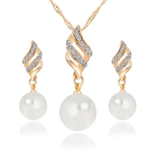 HN-3piece/Set New Smart Pearl Drops Necklace pendant stud earring Women Jewellery Gift gold as picture
