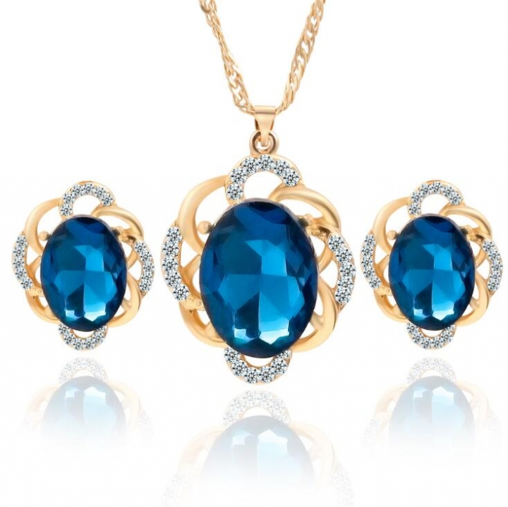 HN-3 piece/Set New Vintage Crystal diamond Drops Necklace pendant stud earring Women Jewellery Gift Gold+Blue as picture
