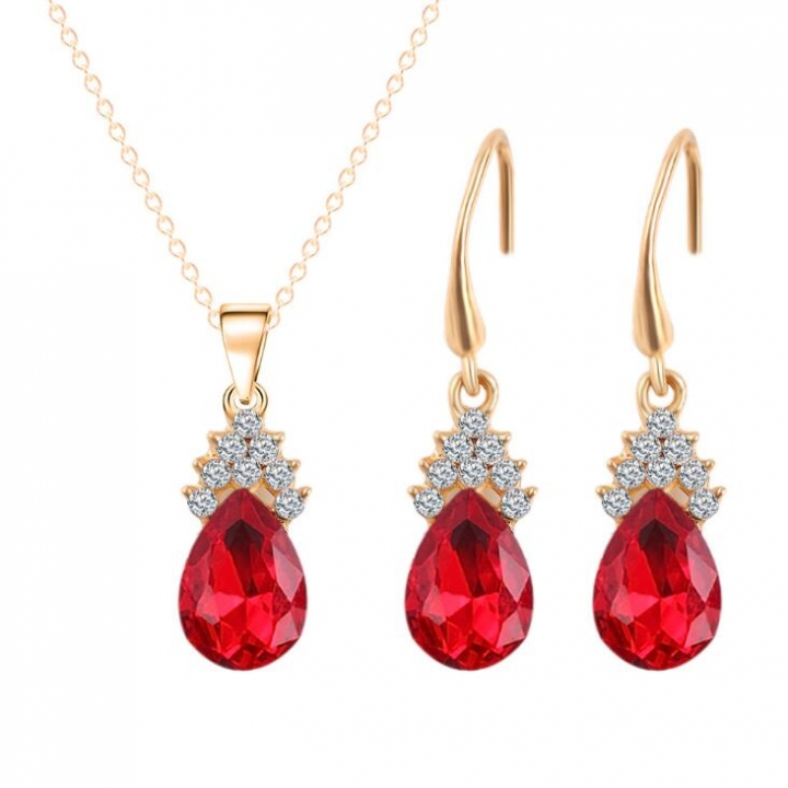 HN-3 piece/Set New Vintage Crystal zircon Drops Necklace pendant stud earring Women Jewellery Gift gold+Red as picture