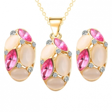 HN-3 piece/Set New Vintage Crystal zircon Drops Necklace pendant stud earring Women Jewellery Gift gold+Pink as picture