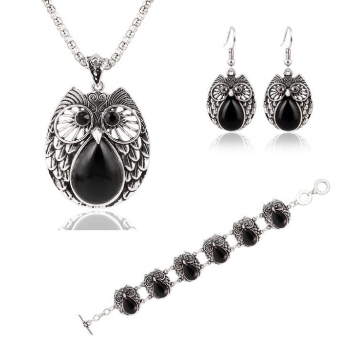 HN-4 piece/Set New Metallic owl Turquoise Drops Necklace pendant stud earring Women Jewellery Gift Silver+Black as picture