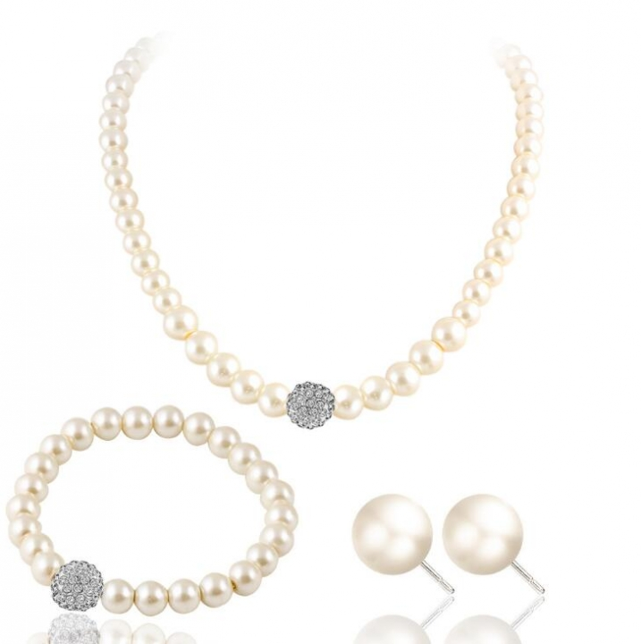 HN-4 piece/Set New Bridal pearl diamond Drops Necklace pendant stud earring Women Jewellery Gift white as picture