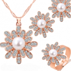 HN-4 piece/Set New Christmas snowflake Pearl Necklace pendant stud earring Women Jewellery Gift gold as picture