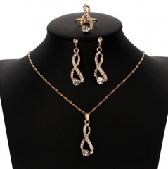 HN-4 piece/Set New Wedding dinner Luxury crystal Necklace pendant stud earring Women Jewellery Gift gold as picture