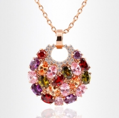 HN-1 piece/Set New Fashion Monalisa colorful zircon necklace Round Pendant luxury crystal gold as picture