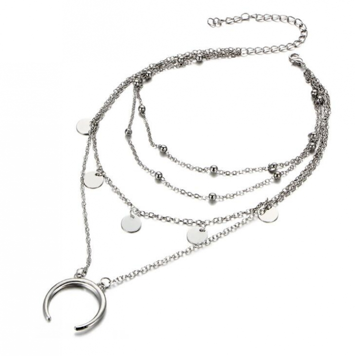 HN-1 piece/Set New Fashion choker Round moon Pendant Bead Necklace Jewelry multi clavicle silver as picture
