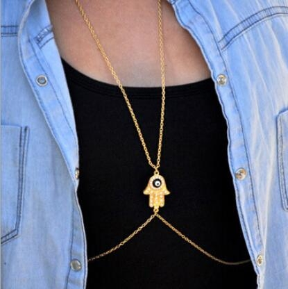HN-1 piece/Set New Fashion personality Hot 100 pad body hand chain necklace gold as picture