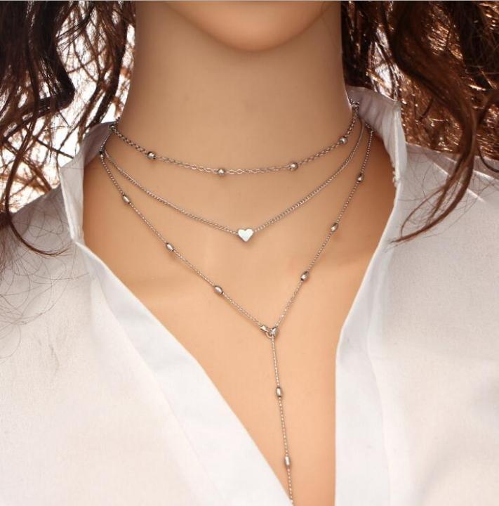 HN-1 piece/Set New Fashion multi Street sexy bronze Heart Pendant Necklace Pendant silver as picture