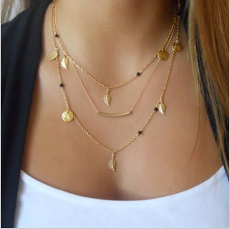 HN-1 piece/Set New Fashion Stylish crystal leaves necklace multi layer metal gold as picture