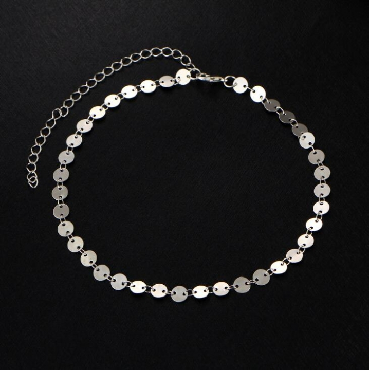 HN-1 piece/Set New Fashion Minimalist personality retro round Sequin choker necklaces silver as picture