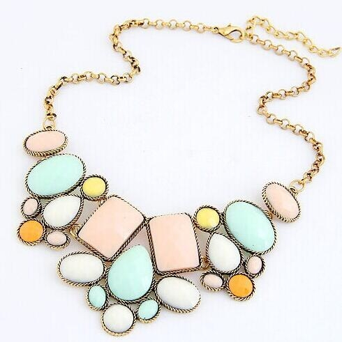 HN-1 piece/Set New Fashion Metal exaggerated luxury geometric polygon temperament short necklace Mix Color as picture