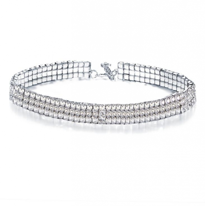 HN-1 piece/Set New Fashion Diamond choker necklace all-match jewelry wholesale silver as picture