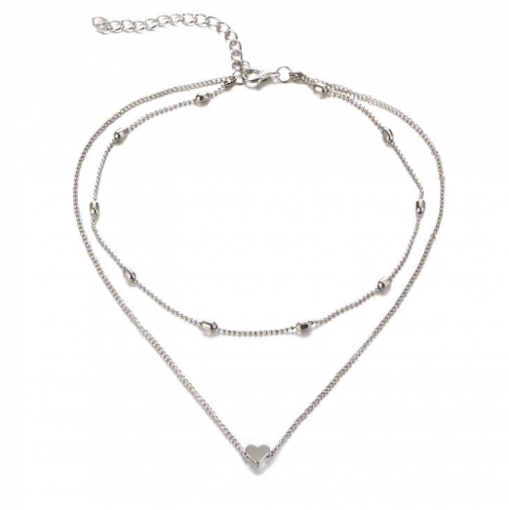 HN-1 piece/Set New Fashion Copper multilayer Heart Necklace Jewellery silver as picture