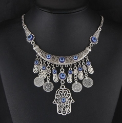 HN-1 piece/Set New Fashion Hand all-match Coin Necklace metal folk style of Fatima silver as picture
