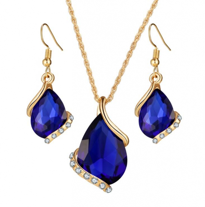 HN-3 piece/Set New Fashion wedding dinner luxury water drop Austria crystal Zircon Earrings Necklace gold+ blue as picture