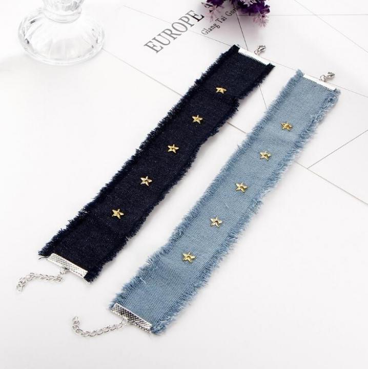 HN-1 piece/Set New Fashion Edging denim star rivet wide clavicular choker Necklace Light Blue as picture