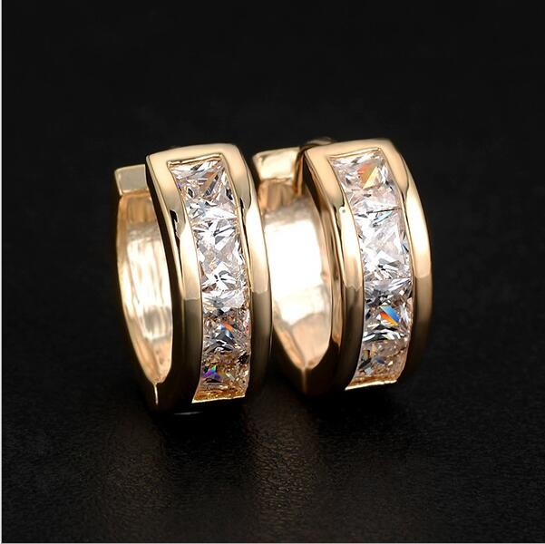 HN-1 Pair/Set New Fashion Zircon real gold plating Stud Earrings For Women Jewellery Gift gold as picture
