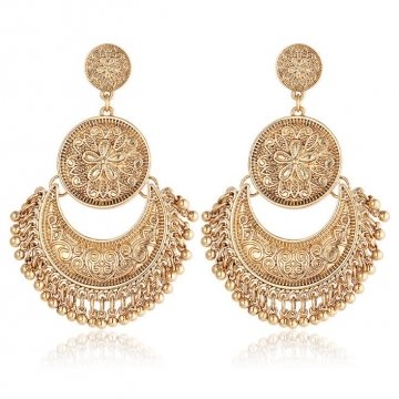 HN-1Pair/Set New Fashion Metal Personality and national style Drop Earrings For Women Jewellery Gift gold as picture