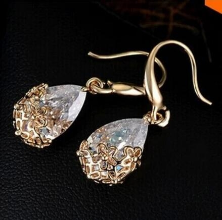 HN-1 Pair/Set New Fashion Metal Zircon hollow flower Stud Drop Earrings For Women Jewellery Gift gold as picture