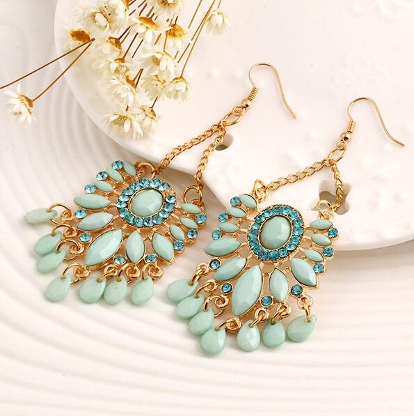 HN-1 Pair/Set New Fashion Bohemia acrylic Stud Drop Earrings For Women Jewellery Gift blue as picture