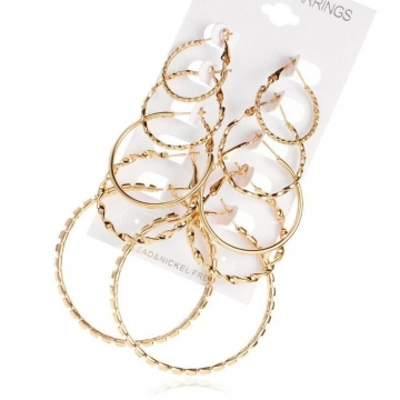 HN-1 Pair/Set New Fashion Retro circle alloy Stud Drop Earrings For Women Jewellery Gift gold as picture