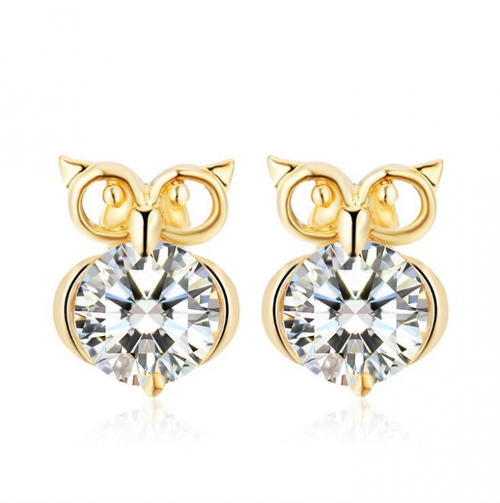HN-1 Pair/Set New Fashion Owl zircon Stud Drop Earrings For Women Jewellery Gift gold as picture
